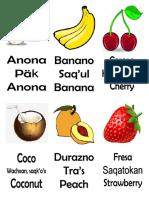Frutas en Español Kaqchikel Ingles