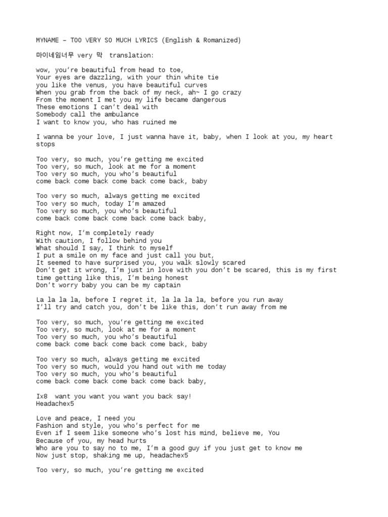 Myname   Too Very So Much Lyrics English & Romanized   PDF
