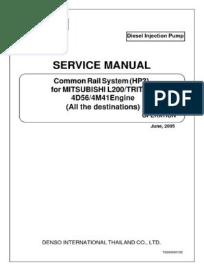 Service Manual: Common Rail System (HP3) For Mitsubishi L200/Triton