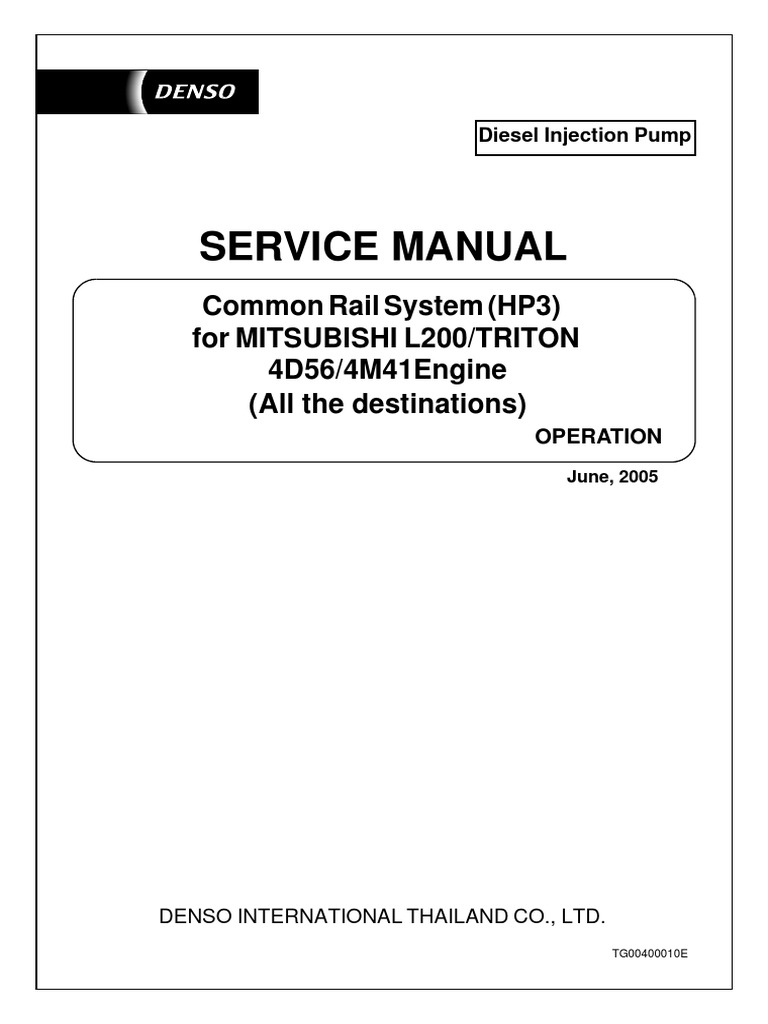Service Manual: Common Rail System (HP3) For Mitsubishi L200