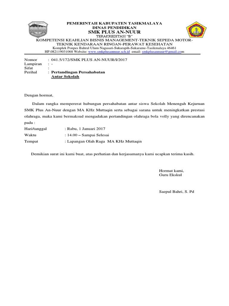 Contoh Surat Dinas Pertandingan Persahabatan Osis Contoh Surat Terbaru 2020