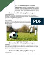 Bermain Agen Bola Online Yang Menguntungkan