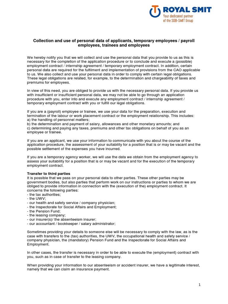 20180424 Privacy Statement English Employment Payroll