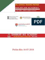Prelim Bits Current Affairs 16-07-2018