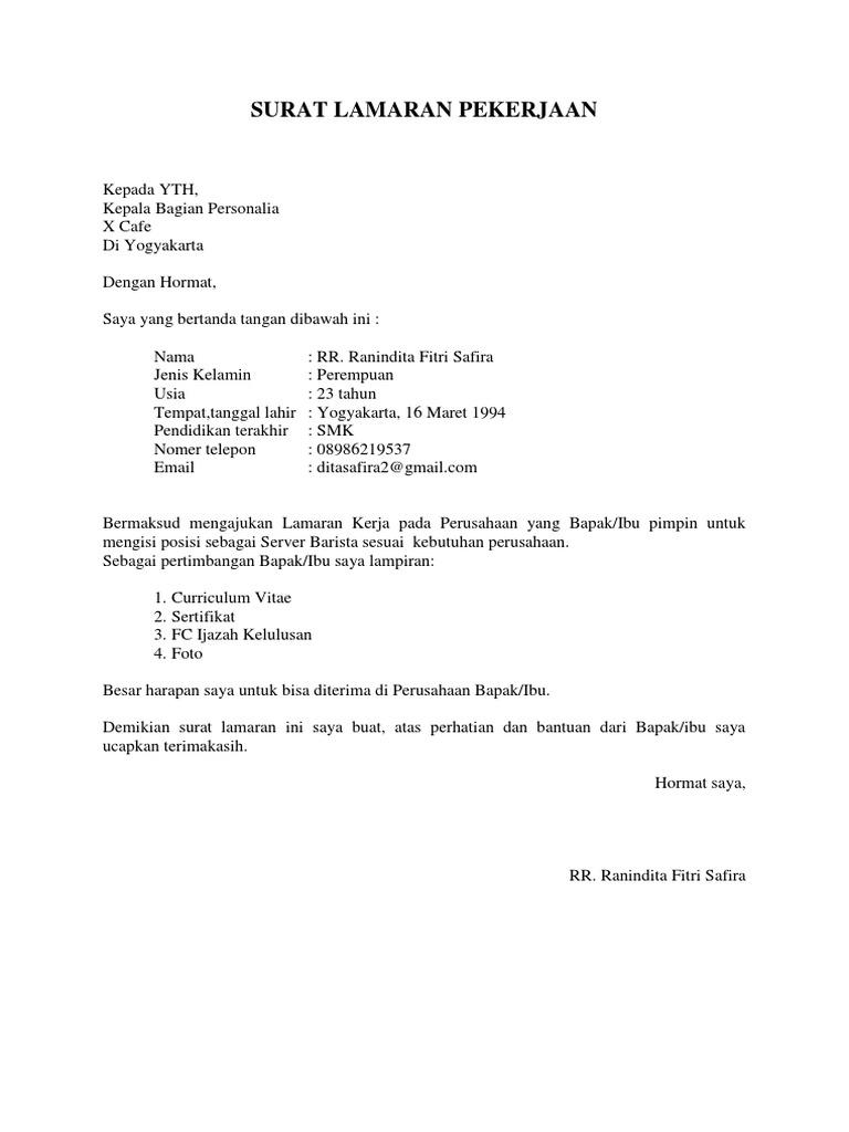Surat Lamaran Pekerjaan 2