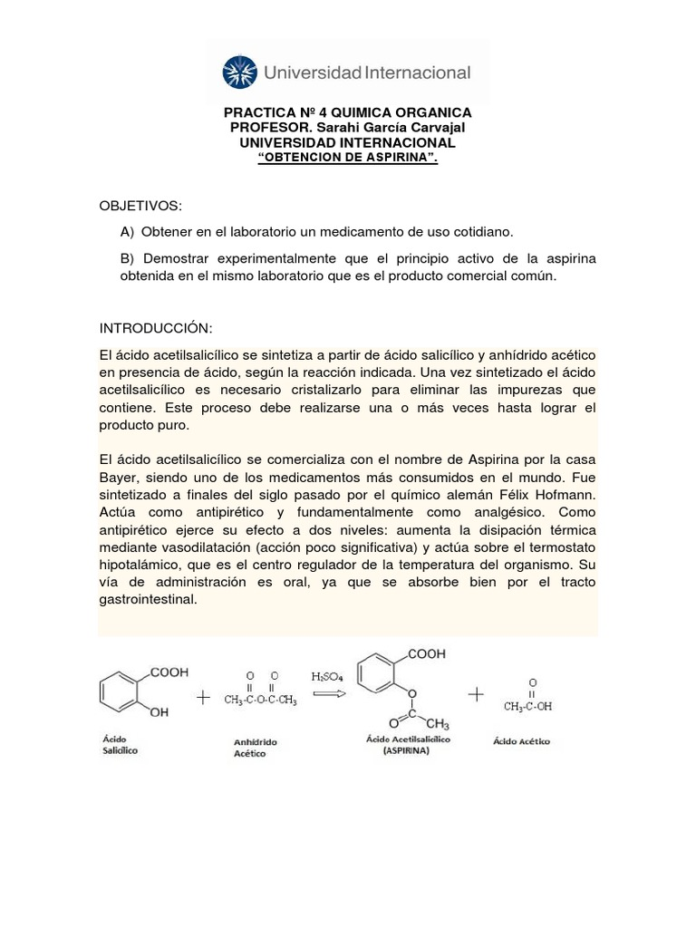 Acido acetilsalicilico principio activo