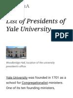 List of Presidents of Yale University - Wikipedia