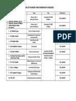 Matrix of Plenary Speakers