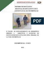 II Taller de Fortalecimiento de Desempeños Dirigido a Directivos y Proferores de Instituciones Educativas Del Nivel Primaria de La Ugel Chumbivilcas