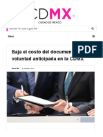 CDMX - Baja El Costo Del Documento de Voluntad Anticipada en La CDMX