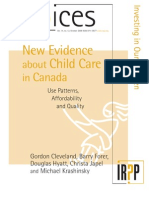 New Evidence of Childcare in Canada