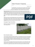 Harga Pagar Panel Beton SNI Tangerang Termurah