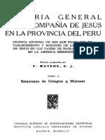 Historia General de La CIA de Jesus en El Peru.tomo II