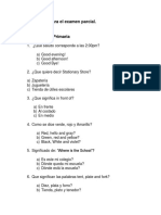 Examen Parcial Ingles Círculo Primaria Opciones