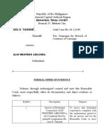 Formal Offer of Evidence ( Defense)