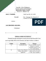 Formal Offer of Evidence ( Prosecution)