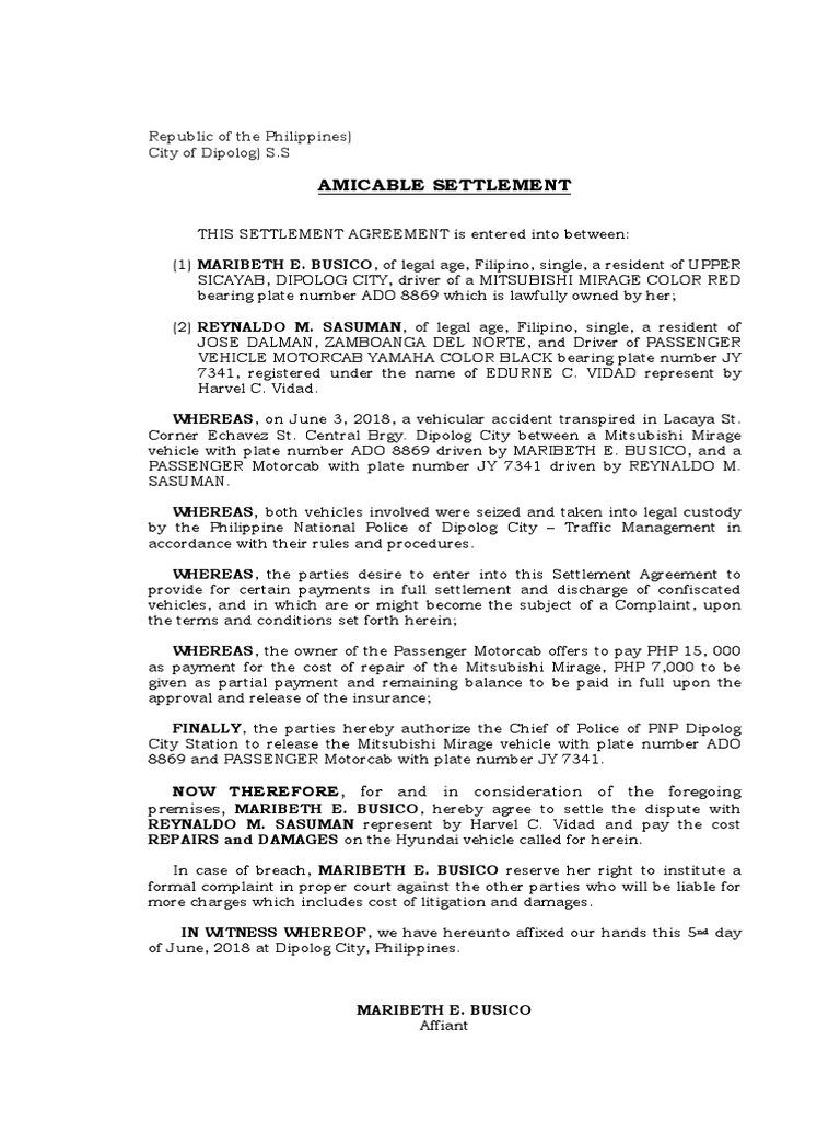 Settlement Agreement Sample from imgv2-1-f.scribdassets.com