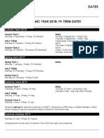 Academic Year 2018-19 Dates
