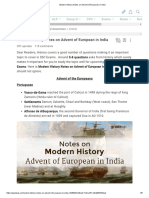 Modern History Notes on Advent of European in India
