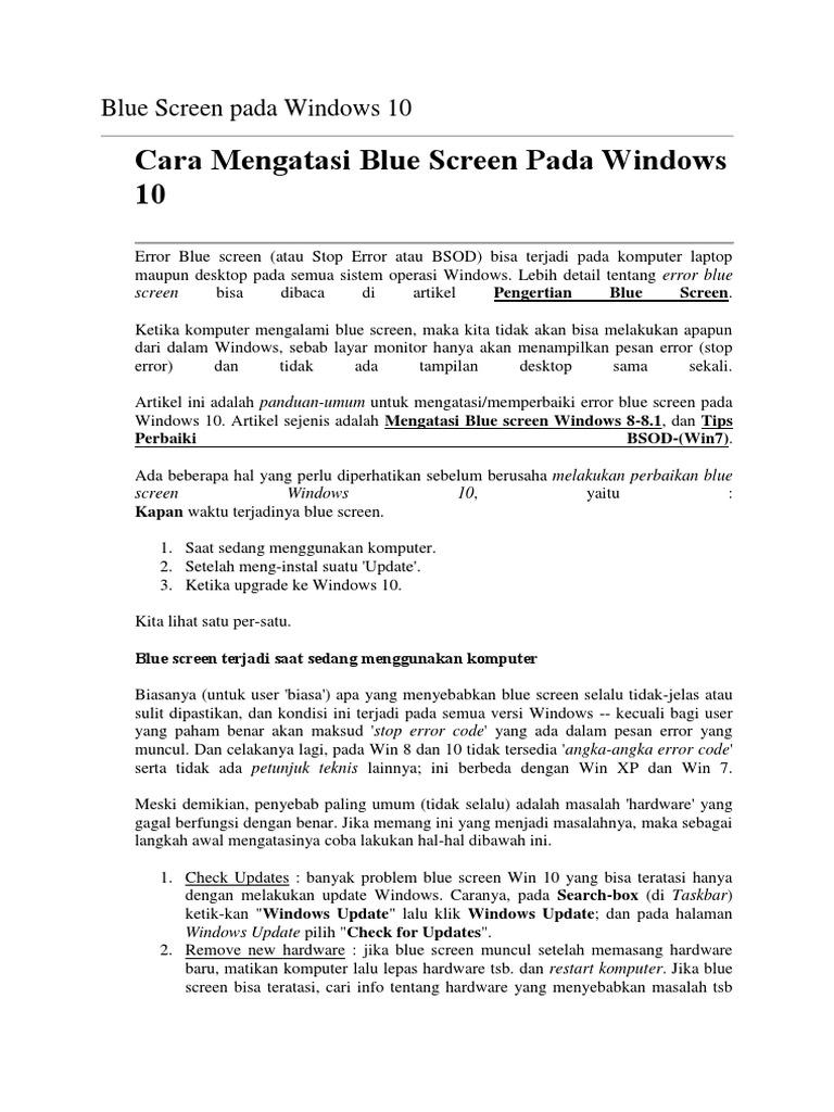 Blue Screen Pada Windows 10