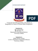 """Corporate Social Responsibility in the Banks of Bangladesh in Context of Premier Bank, Bangladesh"""