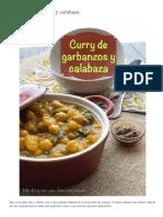 Curry de Garbanzos y Calabaza