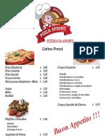 Listino prezzi PizzaSprint