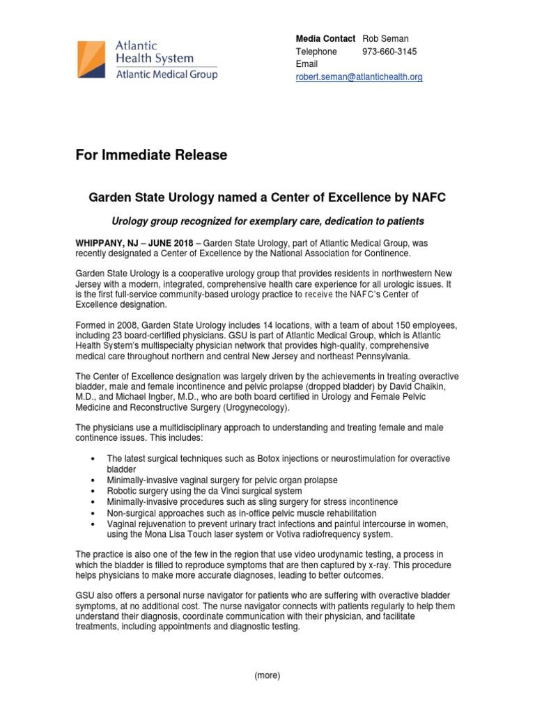 Nafc Press Release Urinary Incontinence Urology