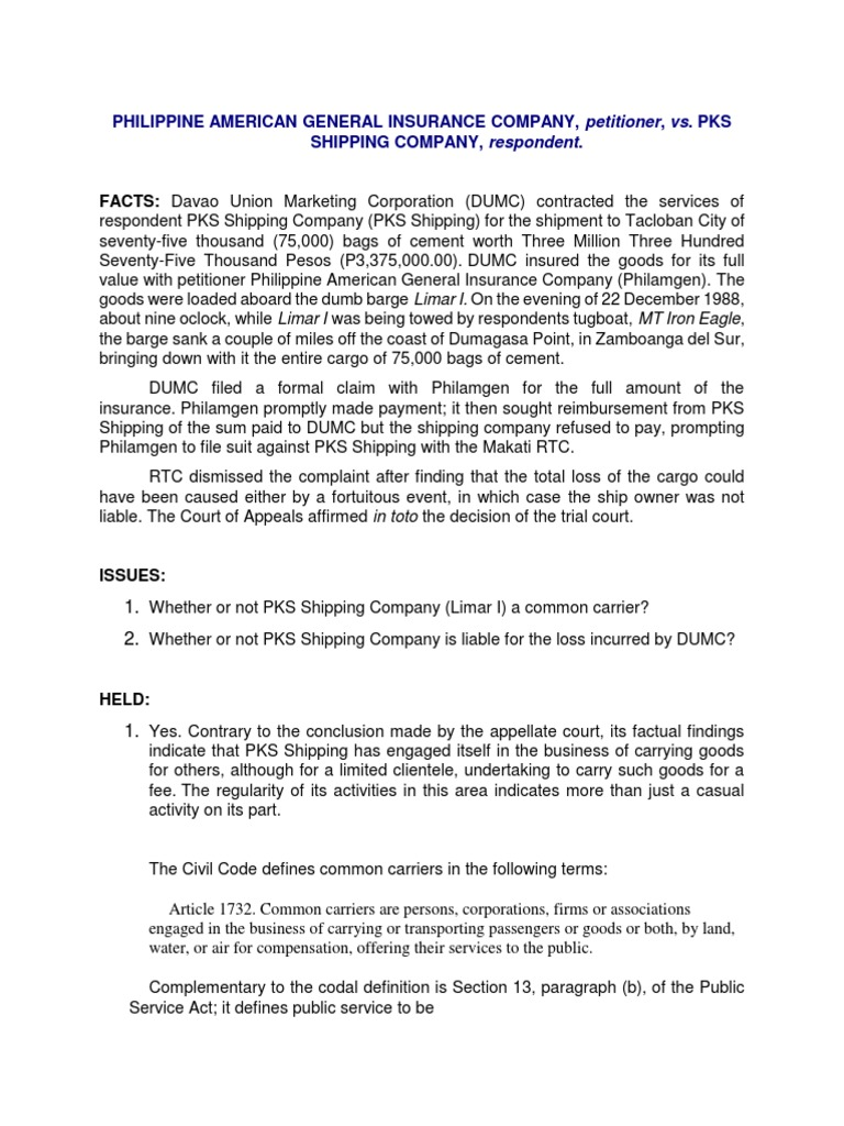 Philippine American General Insurance Company Petitioner Vs Pks Shipping Company Respondent Common Carrier Question Of Law