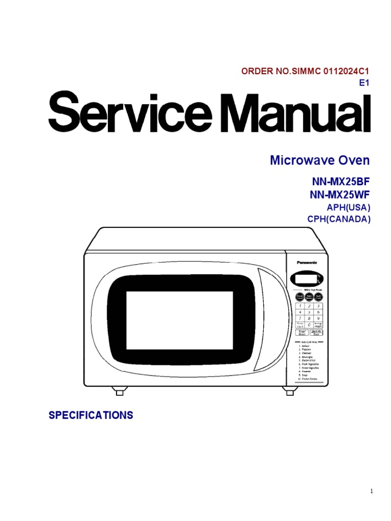 Service Manual for Panasonic Microwave NN-MX25WF / NN