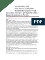 Inauguración de Aulas Fijas Escolares en La Primera Tata Lázaro Cárdenas de Tonalá