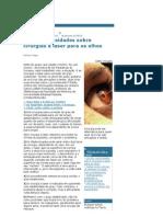 As Dez Curios Ida Des Sobre Cirurgias a Laser Para Os Olhos