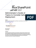 Share Point Admin Considerations