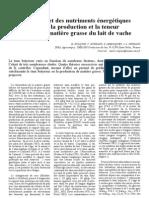 Effet Des Nutriments Energitique Sur La Production Et La Teneur en MG Du Lait de Vache