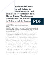 """Presentación de La Marca Ciudad """"Guadalajara, Guadalajara"""", En El Paraninfo de La Universidad de Guadalajara"""
