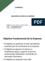 Finanzas de La Empresa i - Creación de Valor - Cjcg 06-05-2018
