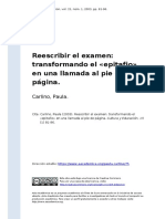 Carlino, Paula (2003). Reescribir El Examen Transformando El «Epitafio» en Una Llamada Al Pie de Pagina