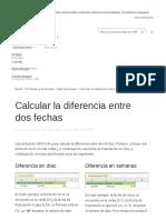 Calcular La Diferencia Entre Dos Fechas - Excel
