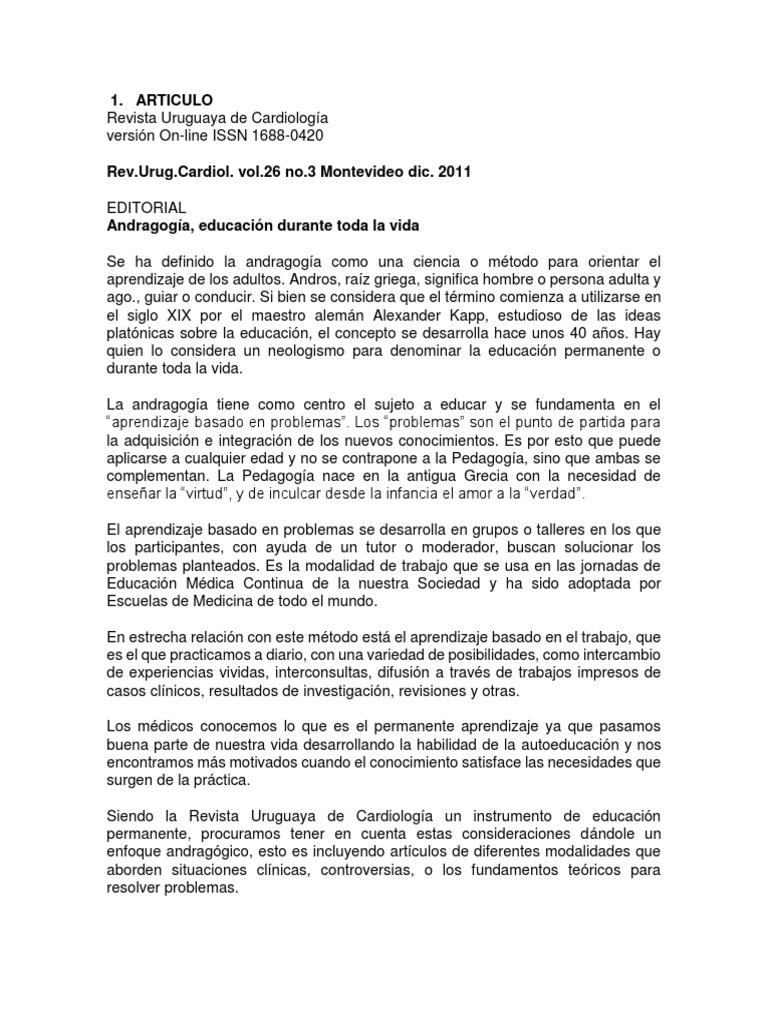 Articulos de Revistas Cientificas, Tema La Andragogía