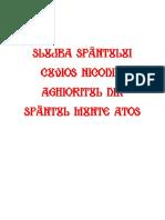 Slujba Sf. Nicodim Aghioritul Corect