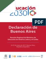 UNESCO Declaracion de Buenos Aires Ministros de Educacion AL Enero 2017