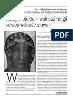 Orzeczenie ze Strasburga - nie wolno wyśmiewać świętych i obiektów czci religijnej.