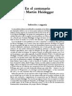 Centenario de Martin Heidegger