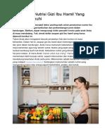 Kebutuhan Nutrisi Gizi Ibu Hamil Yang Harus Dipenuhi