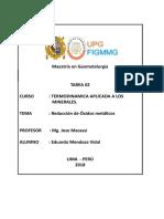 Tarea 2. Reduccion de Oxidos Metalicos