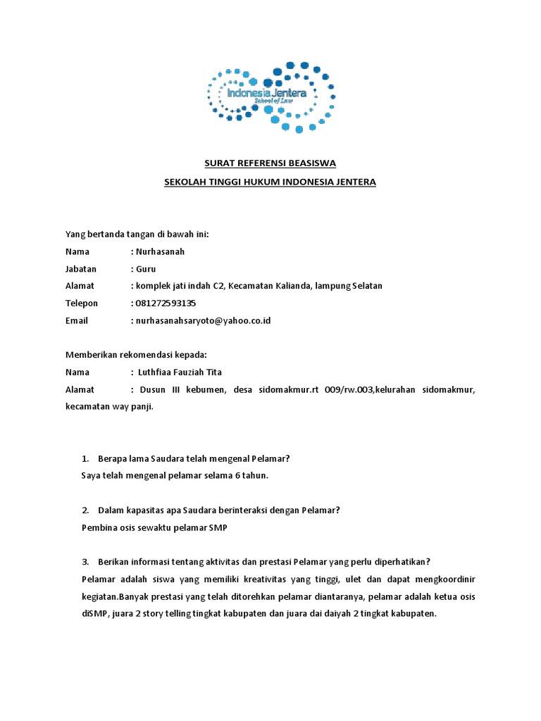 Surat Rekomendasi Beasiswa 2