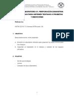 Practica de Laboratorio n01 - Perforación Diamantina de Las Muestras Para Obtener Testigos o Probetas y Mediciones