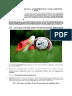 Ciri – Ciri Agen Judi Bola Online Terpercaya Untuk Betting Bola