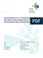 Uncertainties in a Screening Limit for the Rate of Gas Generation From an Intermediate Level Waste Package