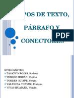 Tipos de Texto, Parrafos y Conectores